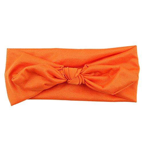 Mädchen Kaninchen Bogen Ohr Haarband Stirnband Turban Knot Head Wraps (Orange) ()