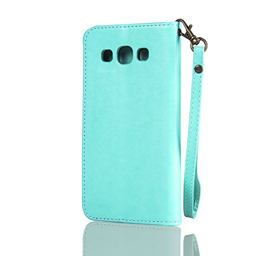 Coque Etui Housse pour Samsung Galaxy S3 i9300 i9301 Neo,Cozy Hut® Bookstyle Étui Housse en Cuir Case, Le soulagement Art Fleur de Papillon Image Etui Housse Cuir PU Portefeuille Folio Flip Case Cover Mint Green
