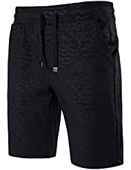 Sannysis pantalones cortos de chándal deporte para hombres, negro (M)