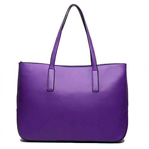 Miss Lulu Women's Faux Leather Tote Bag, Purple