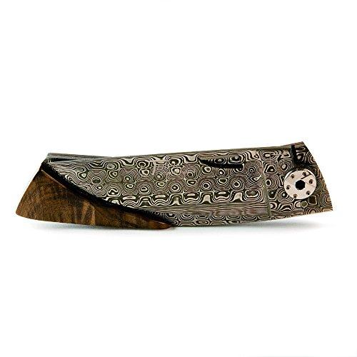 Thiers Liner Lock Griff Holz Walnuss, Klinge aus Damaskus -