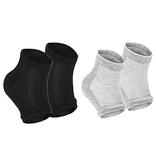 Beito 2 Paare Mann Frauen Moisturizing Gel-Ferse Socken Offene Zehensocken für trockene Haut Fußpflege Gel-Ferse Sleeves (Schwarz und Grau) -