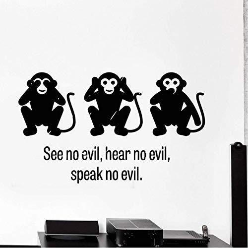Eeemmm Three Wise Monkey See No Evil Hear No Evil Speak No Evil Vinyl Wall Decal Stickers Decorative Pattern Home Decor Art Mural 96 * 57Cm