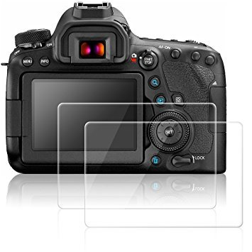 AFUNTA Pellicola Protettiva per Canon EOS 6D Mark II 2 Proteggi Schermo Vetro Temperato Screen Protector AntiGraffio per Fotocamera Digitale DSLR