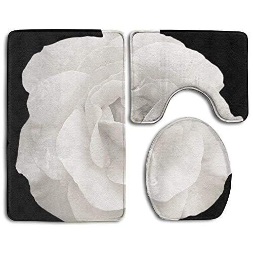 Tender White Rose Flower Macro Isolated On Black Bathroom Rug 3 Piece Bath Mat Set Contour Rug and...