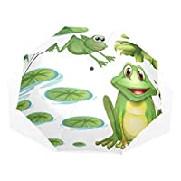 XiangHeFu Umbrella Pond Green Frog Water Lily Flower 3 Folds Lightweight Anti-UV