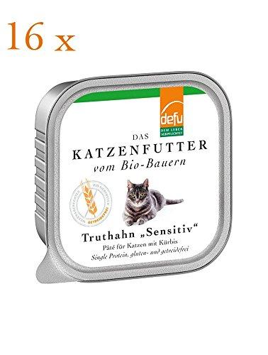 defu Bio Katzenfutter Sensitiv Pate Truthahn, 16er Pack (16 x 100 g)