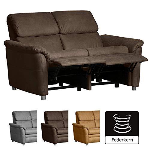 Cavadore 2-Sitzer Sofa Chalsay inkl. Relaxfunktion / mit Federkern / moderne Couch / Größe: 145 x 94 x 92 cm (BxHxT) / Farbe: Braun (chocco)