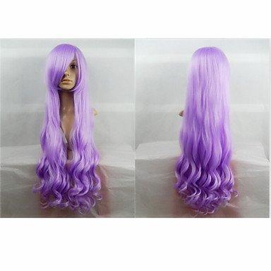 HJL-heißer Verkauf 40 Zoll Hochtemperaturfaser langen lockigen Lavendel Cosplay Perücke Seite ()