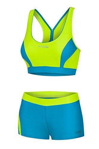 Aqua Speed® Fiona Tankini | Zweiteiler | VITA-Gewebe | Resistent gegen Chlor und Sonnencreme/-öl, Größe:34, Farbe:Limette-Türkis