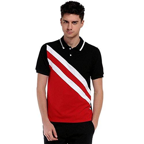 Atdoshop Herren Kurzarm Revers Poloshirt lässige T-shirts Tee Sommertop Schrägen schwarzen Streifen