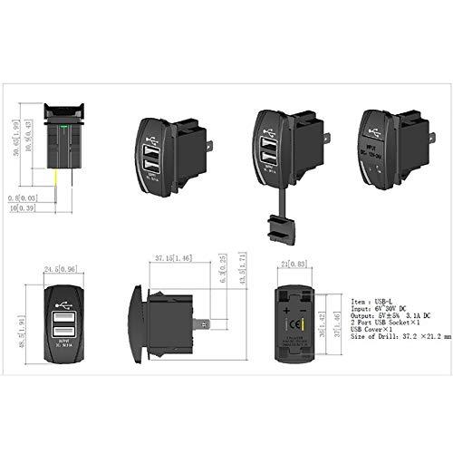 MNEFEL Zócalo Dual del Cargador del USB DC12V 20A Cargador rápido del...