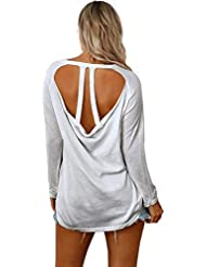 mujeres suéter suelto knit casual backless manga larga elasticidad sudaderas pullovers tops . gray . l