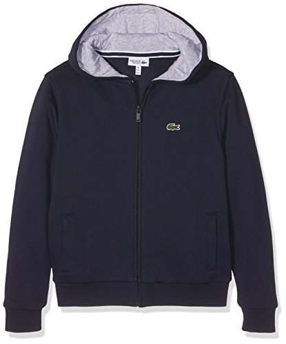Lacoste Jungen Kapuzen Sweatshirt Jacke, Blau (Marine/Argent Chine), 12 Jahre (Herstellergröße: 12A) -