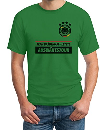 JGA Team Bräutigam Letzte Auswärtstour WUNSCHDATUM auf Rückseite Kombi T-Shirt Medium Grün