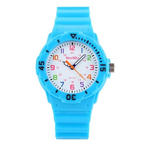 BesWLZ Kinder und Jugendliche Uhr Analog Quarz Wasserdicht mit Plastik Armband Blau (Digital Mit Uhr Kompass Kinder)