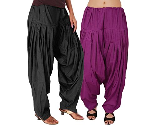 Luvcare 100% Pure Cotton Patiala Salwar For Womens(Black And Purple)