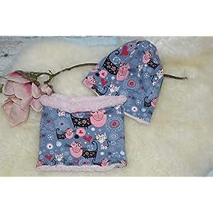 warmes Mützen-Set aus Beanie & Loop u Mütze Halssocke Kinder Kids Katzen rosa grau