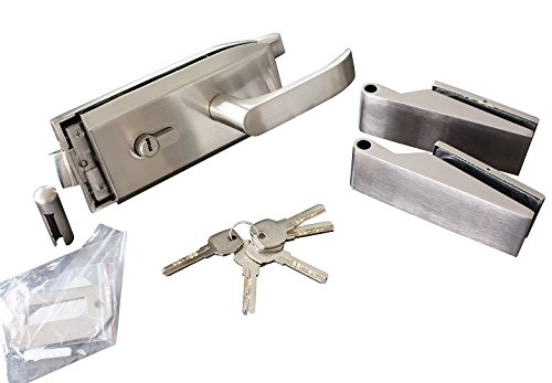 Glastürbeschlag-Set, PZ+Olive abschließbar Glastürbeschläge, Edelstahl, f.Glastür