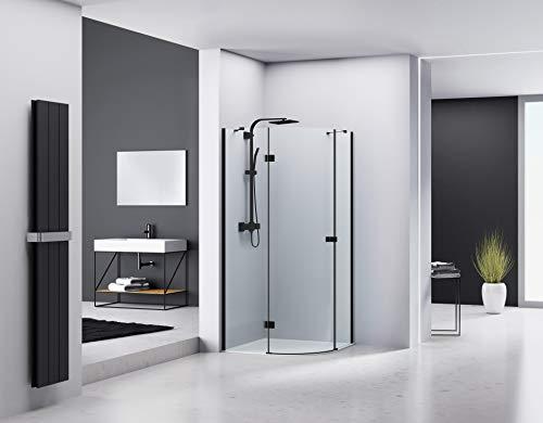 MARWELL LOFT Glasdusche aus ESG Sicherheitsglas Duschabtrennung 90 x 90 x 200 cm, Matt Schwarzes Design