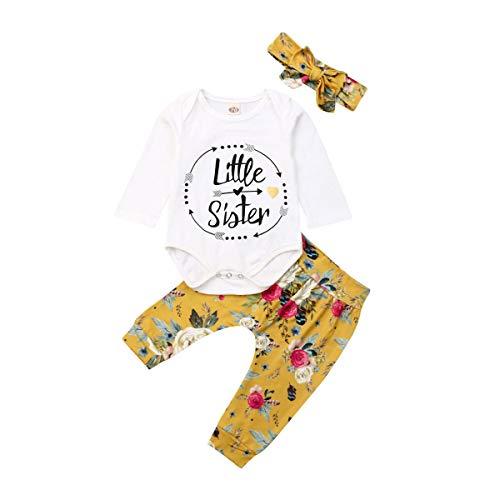 CIPOGL Neugeborenen Set Mädchen Baby Mädchen Kleidung Langarm Strampler+ Blumendruck Hosen Haarband Baby Mädchen Winter Kleidung (Gelb, 0-3 M) -