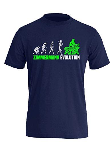 Zimmermann Evolution - Cooles Geschenk für Zimmerer - Herren Rundhals T-Shirt Navy/Weiss-neongruen