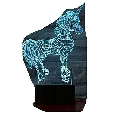 Beautiful Unicorn Horse Animal 7 colori 3D luci di visione notturna a LED Usb Lampada da tavolo Camera da letto Luce di sonno Regali 3D-10513D