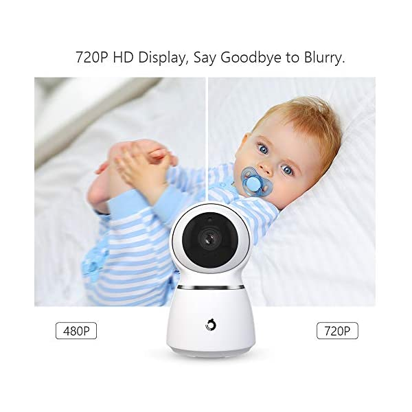 Baby Monitor, Dragon Touch 5 Inch 720P HD Video Baby Monitor with Remote Pan-Tilt-Zoom, Infrared Night Vision, 2-Way Audio, 5 Lullabies, and Temperature Monitoring Capability - Babycare Dragon Touch 720P HD display 3 times clarity than normal 480P display baby monitor. 5-inch large screen give you a better visual experience. The handheld viewing screen let you control the baby camera as you wishes. When the 70° glass lens is combined with the 340° horizontal and 90° vertical rotation range it creates a complete 360° coverage. High-quality built-in microphone and speaker give you the crystal clear two-way communication with your baby. 2
