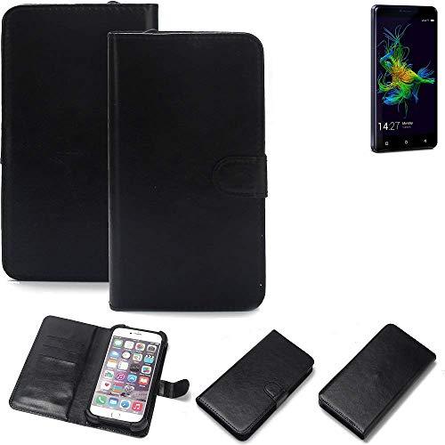 K-S-Trade 360° Wallet Case Handyhülle für Allview P8 Energy Mini Schutz Hülle Smartphone Flip Cover Flipstyle Tasche Schutzhülle Flipcover Slim Bumper schwarz, 1x