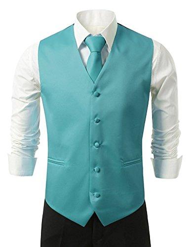Suit Me Gilets pour hommes V¨ºtements de mariage Veste 3 pi¨¨ces avec mouchoir en cravate Turquoise