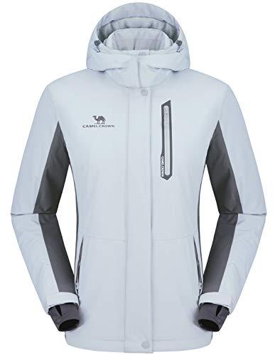 CAMEL CROWN Damen Wasserdichte Jacke, Winddicht Ski Fleecejacke Winter Warme Jacken mit Kapuze, Regenjacke Sportswear Snowboard
