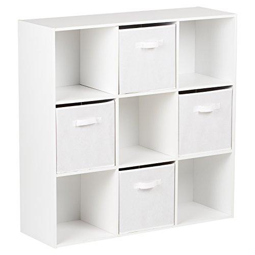 Hartleys Würfelregal in Weiß mit 9Fächern u. 4Schubkästen in Weiß