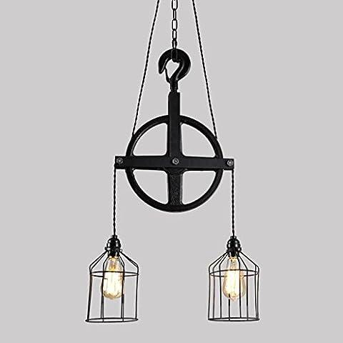 Adelaide - Retro creativo individualità Chandelier Ristorante Bar industriale Vento Ferro rotella lampadario Cafe American Style