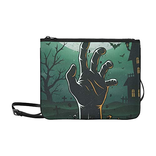 WYYWCY Halloween Party Poster Zombie S Hand Benutzerdefinierte hochwertige Nylon Slim Clutch Cross Body Bag Schultertasche