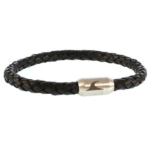 WAVEPIRATE® Echt Leder-Armband Sylt G Schwarz/Silber 18 cm Edelstahl-Verschluss in Geschenk-Box Männer Damen Herren