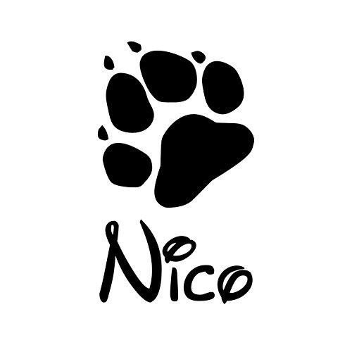 Gravola Pfote mit Wunschname Katzenpfote Hundepfote Aufkleber -