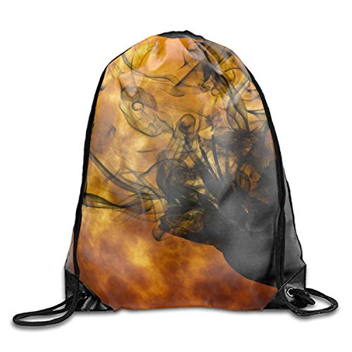 Michael Staton Unisex Drawstring Gym Sack Sporttasche Holiday Halloween Orange Schwarz Artistic Moon Bird Raven (Orange Moon Halloween)