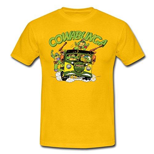 Spreadshirt TMNT Turtles Fahren Bus Cowabunga Männer T-Shirt, S, Gelb