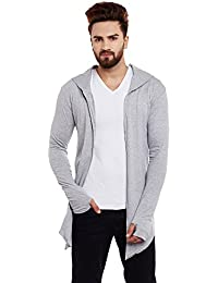 Chill Winston Grey Color Hooded Cardigan With Thumb Insert For Men