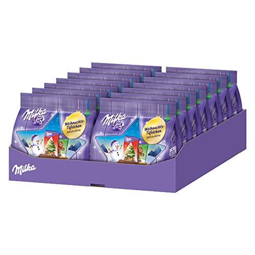 Milka Weihnachts-Täfelchen Milchcrème – Einzeln verpackte Alpenmilch Täfelchen gefüllt mit Milchcrème – 14 x 150g