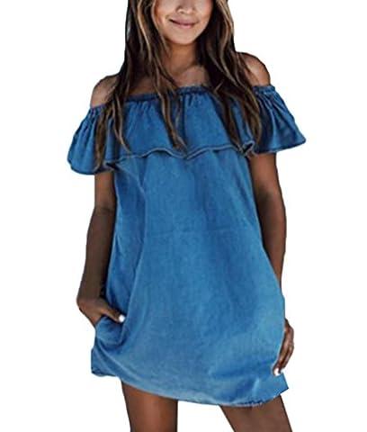 Damen Sommerkleider Kurz Mädchen Jeansstoff Elegant Festlich Wort Kragen Rüschen