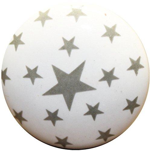 Möbelknöpfe Möbelgriffe Möbelknauf Möbelknopf Kinderzimmer Antik Keramik *Sterne II Grau*