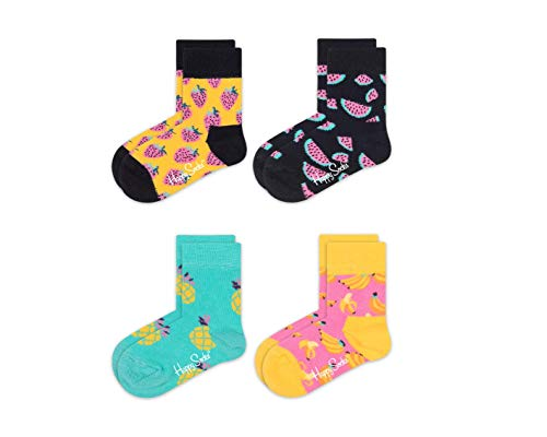 Happy Socks Baby-Unisex Socken 4-Kids Fruit Gift Box, 4er Pack, Gelb (Koralle 3000), One Size (Herstellergröße: 0-12M)