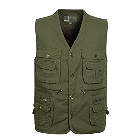 GLF Middle-aged Men's Army Green Multi-pocket V-neck Fisherman Vest Fishing Multi-pocket Outdoor Leisure