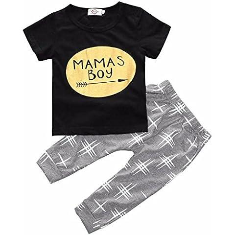 Kingko® 2016 Bambino neonato a manica lunga T-shirt stampata di tops + pants Outfits Abbigliamento (7 anni)