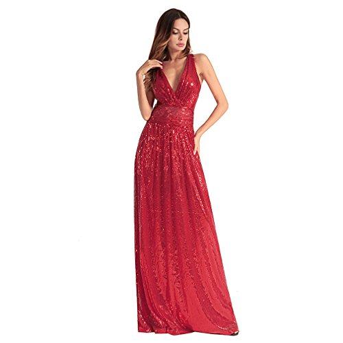 Kleid der Frau Frauenkleid-Bügel-Spleiß-Reißverschluss Backless Pailletten-lange Kleider Sexy Brautjunfer-Abend-Kleid Frühlings-und Sommer-Frauenkleidung ( Color : Rot , Größe : M ) (Kleid Schaufensterpuppe Abend)