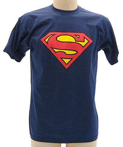 Maglietta SuperMan Blu Scuro - T-shirt Originale Superman, XL (adulti)