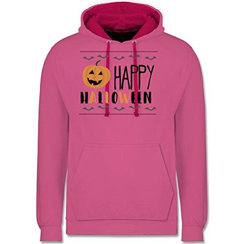 - Happy Halloween Kürbis - S - Rosa/Fuchsia - JH003 - Kontrast Hoodie ()