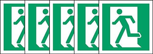 ISO Sicherheitsaufkleber Schild - Notausgang (links) Symbol - Selbstklebende Aufkleber 100mm x 100mm (Packung mit 5 Sticker)