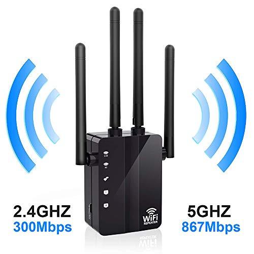 Happon WiFi-Beschleuniger, AC1200 WiFi Long Range Extender, 1200 Mbit/s Dual-Band, 5K-Signalverstärker-Repeater/Access Point/Router mit 4-Band-Antennen für Büro, Heim und Außen -